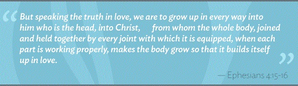 But speaking the truth in love, we must grow up in every way into him who is the head, into Christ, from whom the whole body, joined and knit together by every ligament with which it is equipped, as each part is working properly, promotes the body's growth in building itself up in love. (Ephesians 4:15-16)