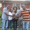 Evening Intermediate English students present gift; L to R, Direba, Yemisrach, Genet, Behailu, Ashenafi (not pictured, Oljira & Ephrem)