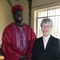 Preacher Carolyn at Anuak worship with Opiew in South Sudanese dress