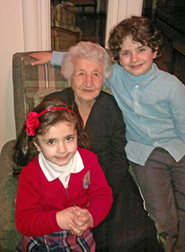 Talin's grandmother—a genocide survivor—with her cherished great-grandchildren Courtesy of Eliza Minasyan