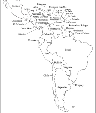 Map Latin America and Caribbean