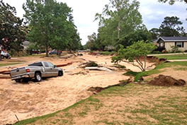 Flood damage to Piedmont Road in Pensacola Photo by Hugh Hamilton