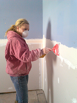 A member of the presbytery's 2014 mission team engaged in rebuilding work in New Jersey Courtesy of David Feltman