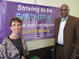 Gun Violence Response Network member Margery Rossi with J. Herbert Nelson II, director of the PC(USA) office of Public Witness Photo by Hans Hallundbaek