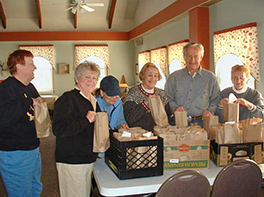 Church members assembling lunches for the survivors of Superstorm Sandy Photo by Merideth S. Mueller