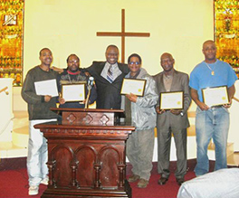 Fredrick T. Thompson, Ovaldo Brown, Chibueze Okorie, Anthony Simpson, elder Nathaniel Wright, and Derek Campbell Photo by Diane Lacey