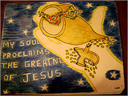 In the hand of Jesus, a broken cup is mended. Drawing by the young man described in this story