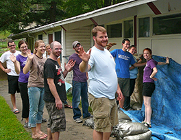 2011–12 group of YAVs who helped Stony Point Center prepare for Hurricane Irene Photo courtesy of Rick Ufford-Chase