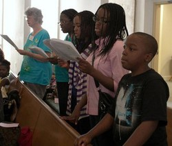 Multicultural, multiethnic congregation at worship