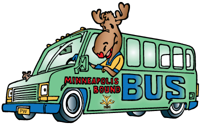 Minnie the Moose on a bus heading to the Churchwide Gathering