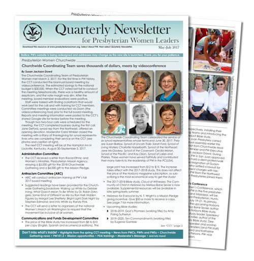 Quarterly news first quarter 2017
