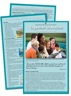 literacy bulletin cover, group of children reading
