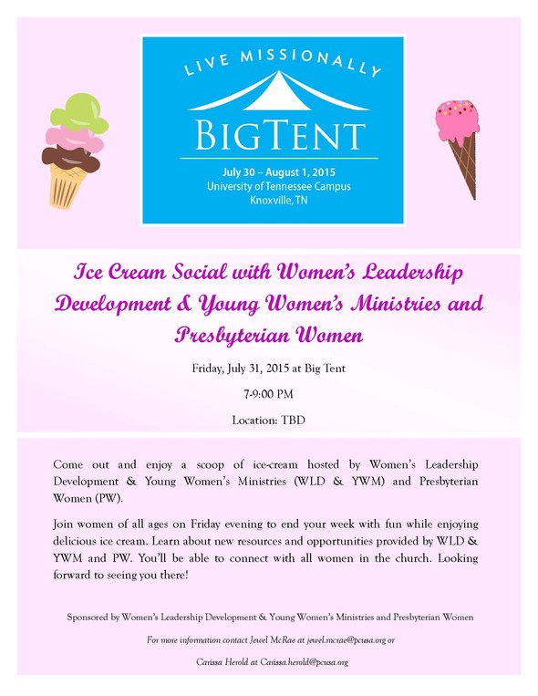 Ice Cream Social with Women's Leadership Development & Young Women's Ministries and Presbyteryian Women