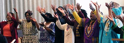 Photo of a group of women in worship