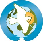 ecumenical advocacy days logo, dove over world