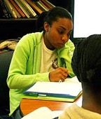 Photo of a female student studying