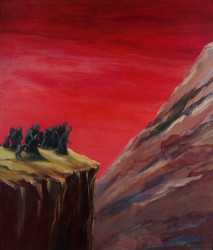 Painting of Armenians on death march, huddled dark figures on cliff against blood-red sky.