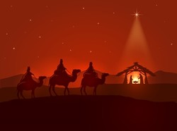 Graphic of three wise men approaching manger